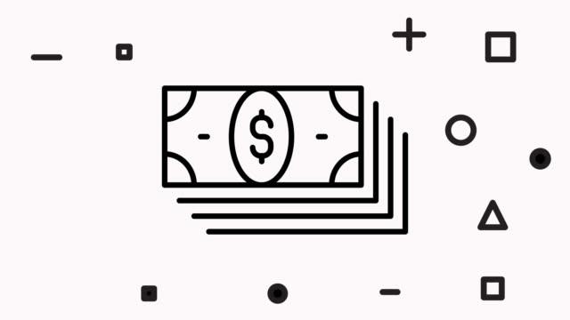 animacja ikon linii polityki pieniężnej z alfa - technika ilustracji filmów i materiałów b-roll