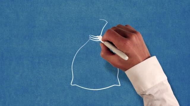 vidéos et rushes de sac d'argent blueprint style de technique de stop-motion animation - tirelire