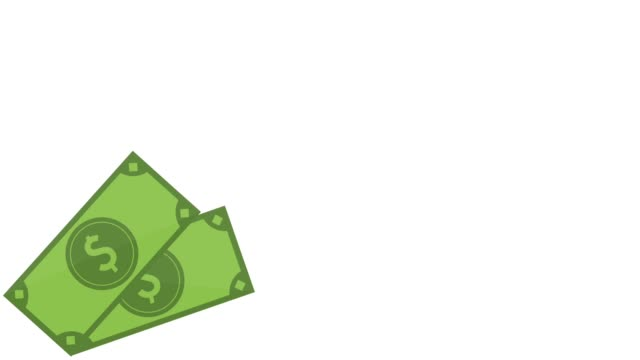 Money bills and coins on corner HD animation video