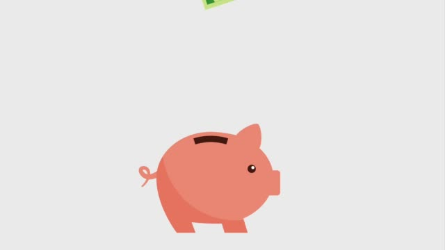 money bills falling inside piggy bank icons money bills falling inside piggy bank icons animation design piggy bank stock videos & royalty-free footage