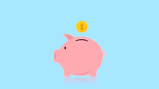 Money coin enter inside piggy bank flat design animation, Piggy bank, Video animation, with alpha channel. Money coin enter inside piggy bank flat design animation, Piggy bank, Video animation, with alpha channel. piggy bank stock videos & royalty-free footage