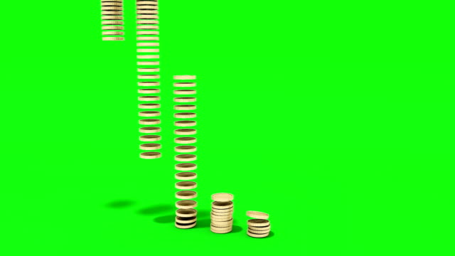 money coins fall in stacks on ground on white money coins fall in stacks on ground on white brushed metal stock videos & royalty-free footage