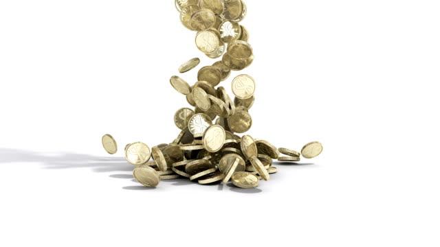 geld münzen fallen in stapeln auf boden auf weiß - bling bling stock-videos und b-roll-filmmaterial
