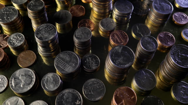 Money Coins Stacked Rotating video