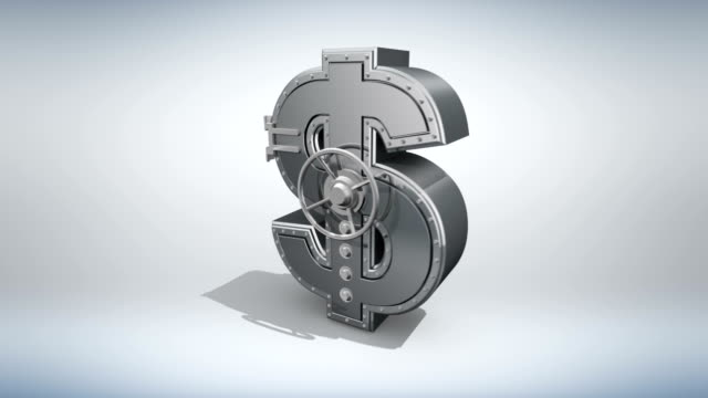 Money concept 3D Banking safe in shape of dollar  rotating on white background. architectural column stock videos & royalty-free footage