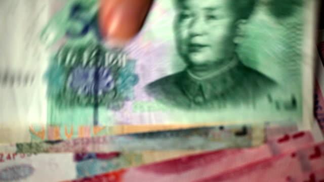 Money counting; Chinese yuan - closeup video
