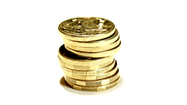Money - Dollar coins stacked (HD 1080p) video