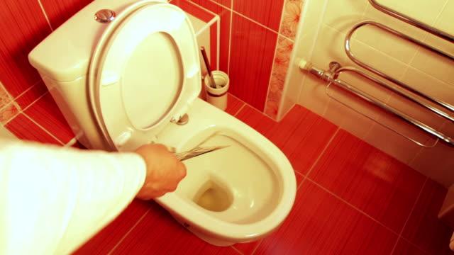Money dollars thrown down the toilet video