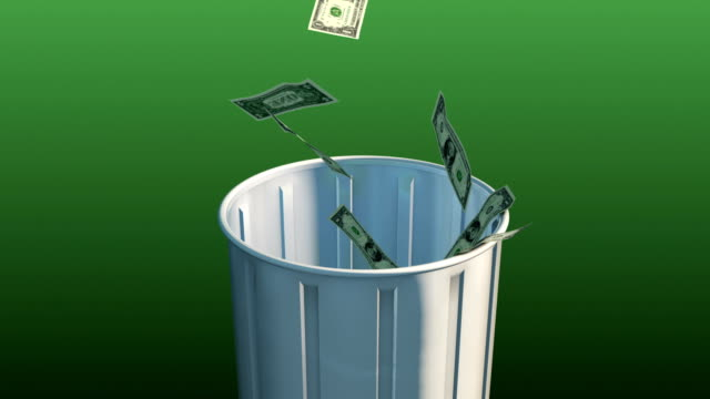 Money Fall in Trash Can video