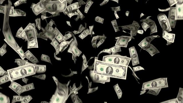 geld-fallenden dollar finanzielle gewinne us-dollar steuern schwarzem hintergrund - inflation stock-videos und b-roll-filmmaterial