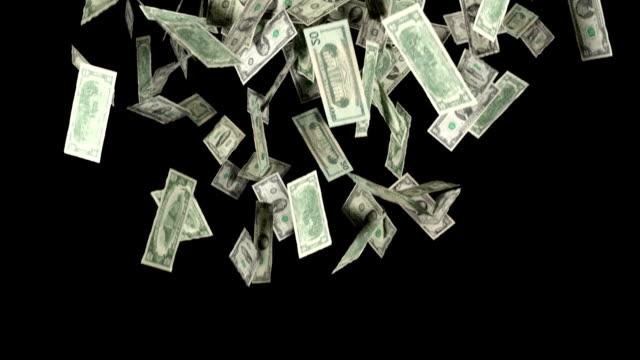 Money Falling In Slow Motion Dollars Financial Win US Currency Tax video