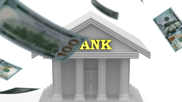 Money falling near the Bank White background, 3d animation financial building stock videos & royalty-free footage