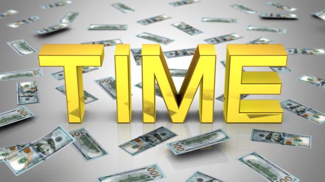 "money falling near the word ""time"" - group of people filmów i materiałów b-roll"