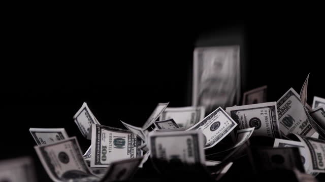money falling, slow motion, Video Clip stock footage.
