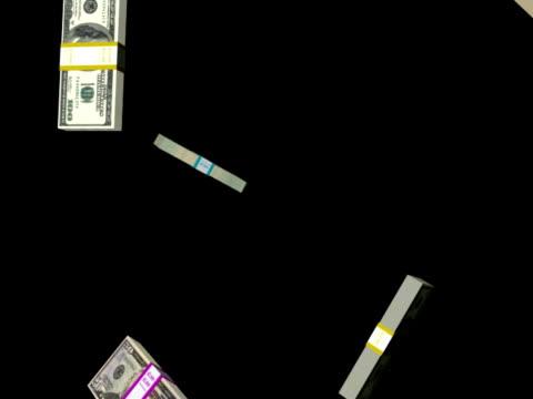 vídeos y material grabado en eventos de stock de dinero caer con canal alfa en bucle pal - accesorio financiero
