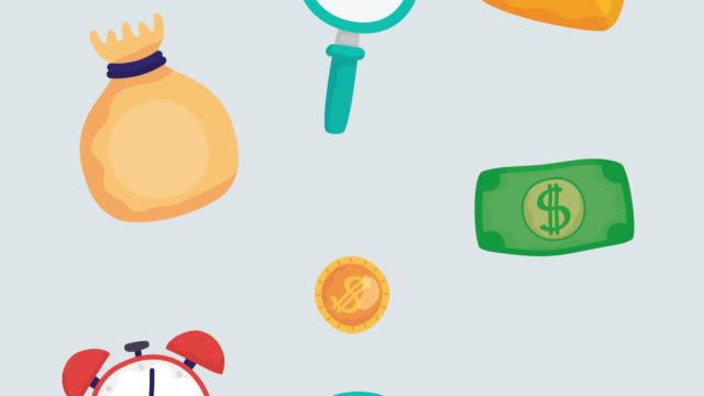 money finances flow set icons - indennità video stock e b–roll