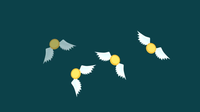 money fly away. business inequality concept. loop illustration in flat style. - balance graphics video stock e b–roll