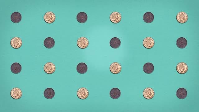 money grid - pennies - stop frame animiert - pfand stock-videos und b-roll-filmmaterial