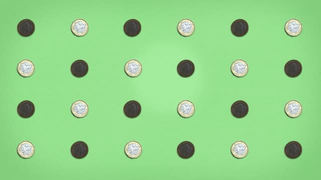 Money Grid - Pound Coins - Stop Frame Animated