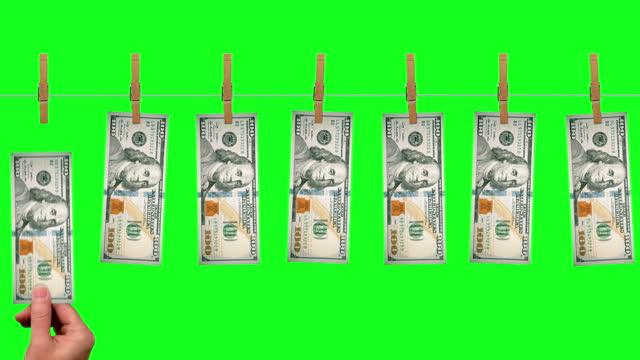 $100 Money line, front side of $100 dollar bills on green screen