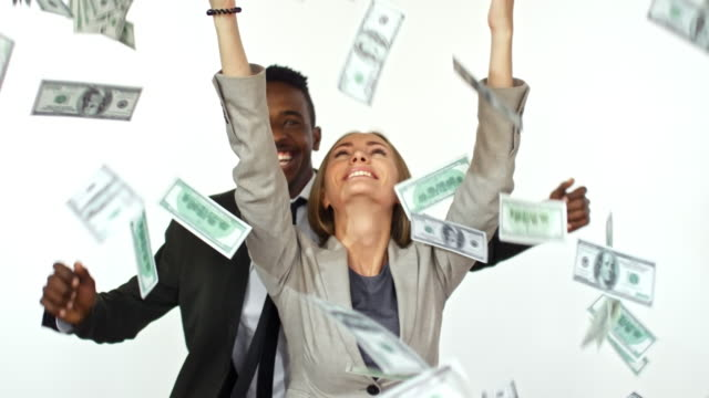 money raining on businesspeople - dollar bill стоковые видео и кадры b-roll