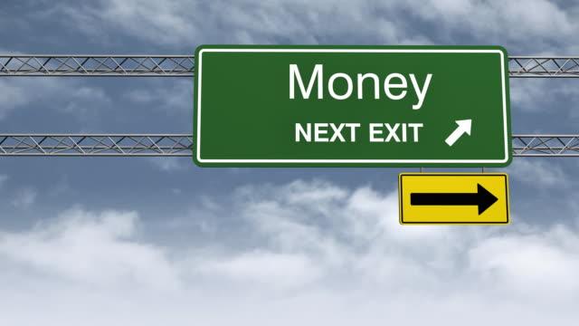 Money Road Sign HD Timelapse