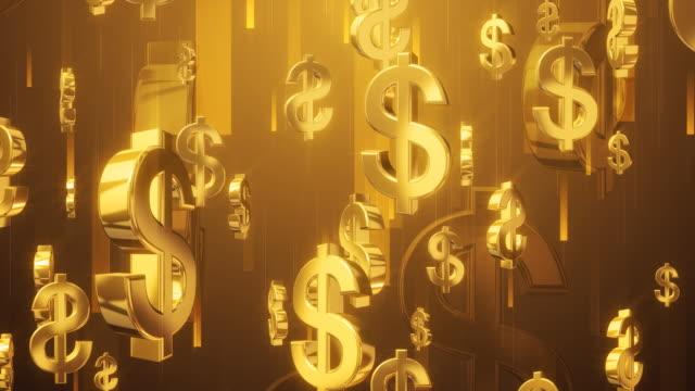 geld dusche gold - dollarsymbol stock-videos und b-roll-filmmaterial