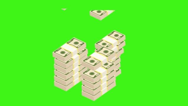 geld-stack lumamatte - dollarsymbol stock-videos und b-roll-filmmaterial