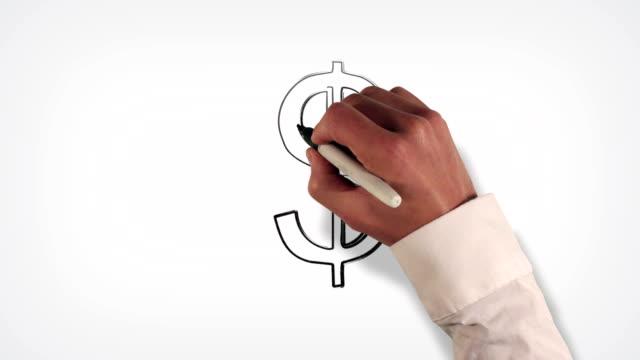 Money Symbol Whiteboard Stop-Motion Style Animation video