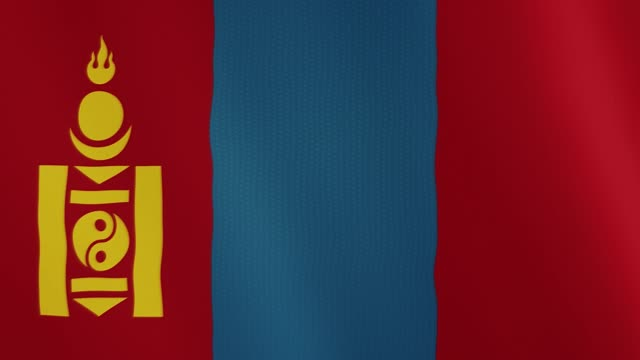 Mongolia flag waving animation. Full Screen. Symbol of the country video
