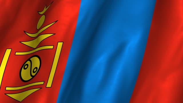 Mongolia Flag - waving, looping video