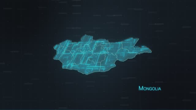 Mongolia map with World Map stock video