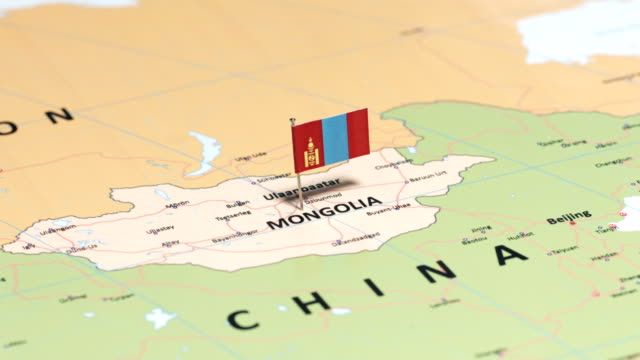 mongolia with national flag - monti urali video stock e b–roll