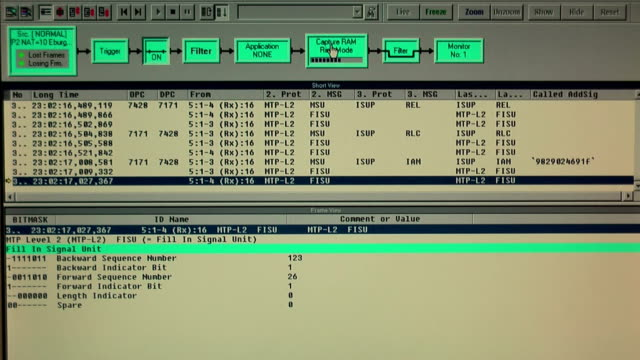Monitor of working protocol tester in technical site video