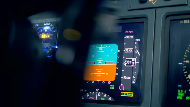 A monitor on a dashboard. Colored monitor placed on a plane dashboard.