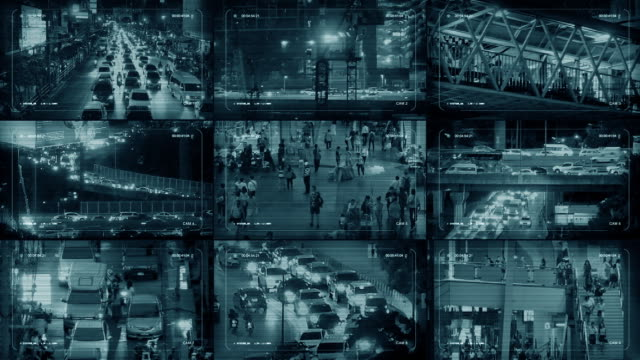 cctv monitors display with city scenes - struttura pubblica video stock e b–roll