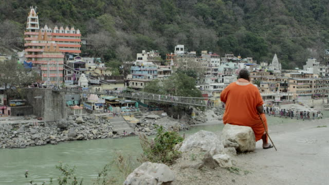 monk overlooking hanging bridge. - family trees stock videos and b-roll footage