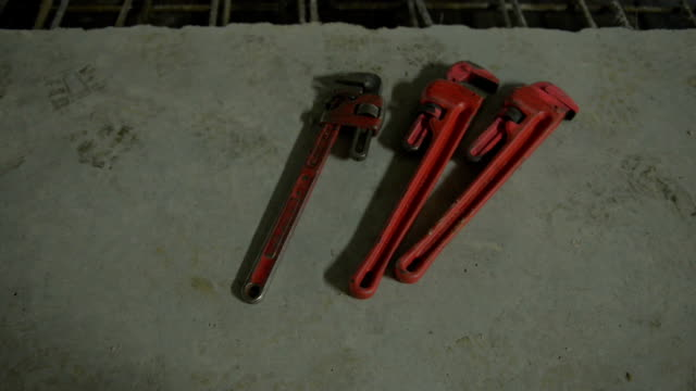 Monkey wrenches on a construction site, Marseille, France video