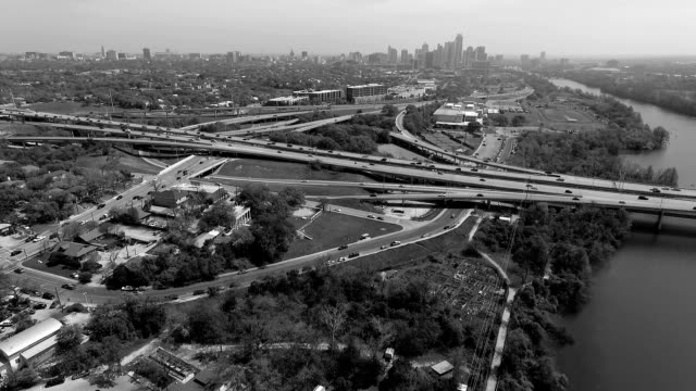 Monochrome Aerial View of Austin Texas Skyline West looking Over the Mopac Expressway and Urban Landscape of the Central Texas Capital City Very Far Angle Black and white