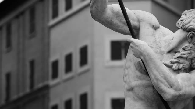 monochrome neptune statue masterpiece in rome - black and white architecture stock videos & royalty-free footage
