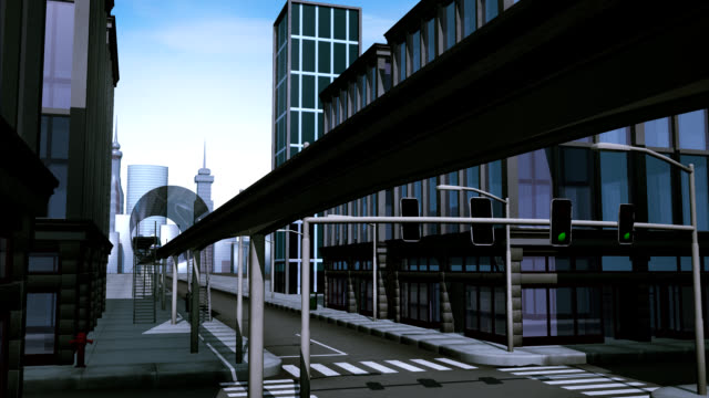Monorail passing by in city video
