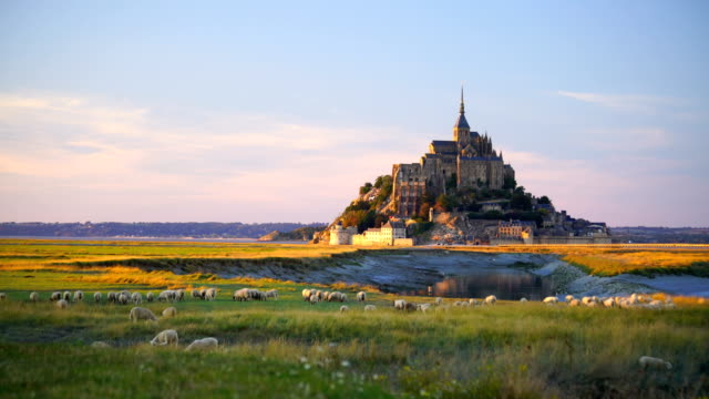vídeos de stock e filmes b-roll de mont saint-michel castle in normandy - castle