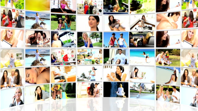 Montage 3D flat screen images young Americans spending time together Montage 3D tablet images female  Caucasian, Asian and African Americans enjoying different lifestyles multiple image stock videos & royalty-free footage