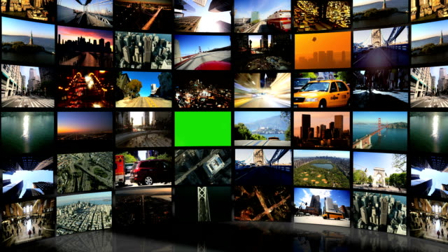 Montage 3D Green Screen Video Wall Famous City Locations video