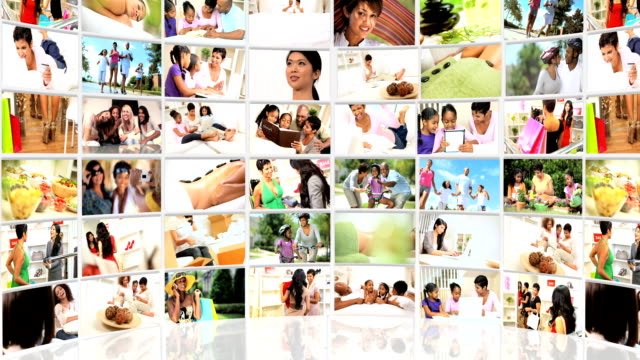 Montage 3D Images Ethnic Females Leisure Activities video
