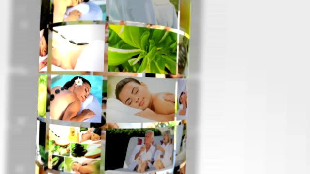 Montage 3D images females having Spa massage treatment video