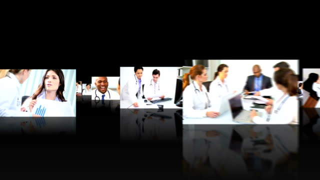 Montage 3D images of  medical professional people Montage fly through 3D images of medical multi ethnic professionals meeting together managers consultants hd format stock videos & royalty-free footage