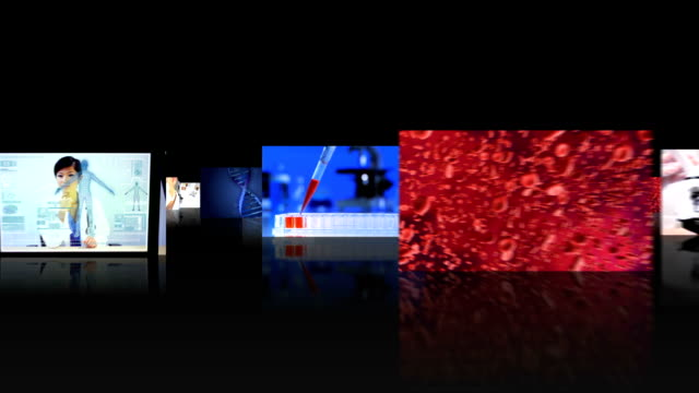 Montage 3D images of  modern laboratory video