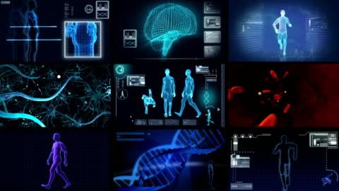 vídeos de stock e filmes b-roll de montagem 3d de investigação científica médica - biologia