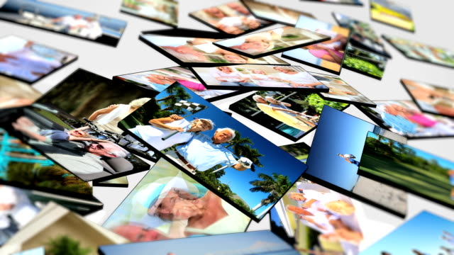 Montage 3D tablet images senior couple enjoying lifestyle moments video
